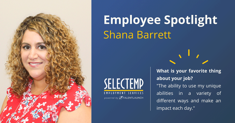 Employee Spotlight, Shana Barrett is our Northern Region Vice President and does a great job keeping everything running here at Selectemp!